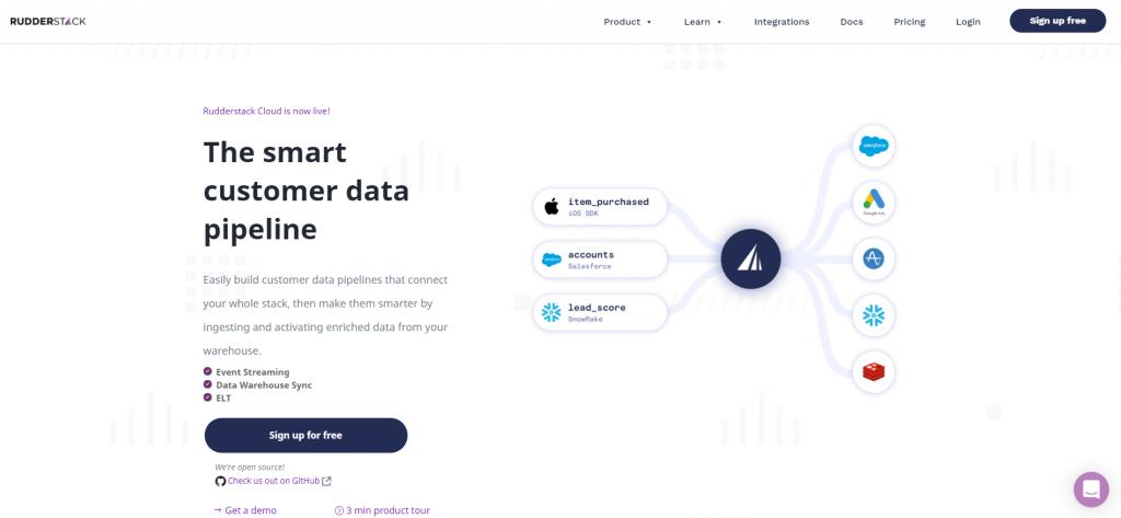 rudderstack homepage
