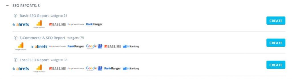 reportz seo dashboard options