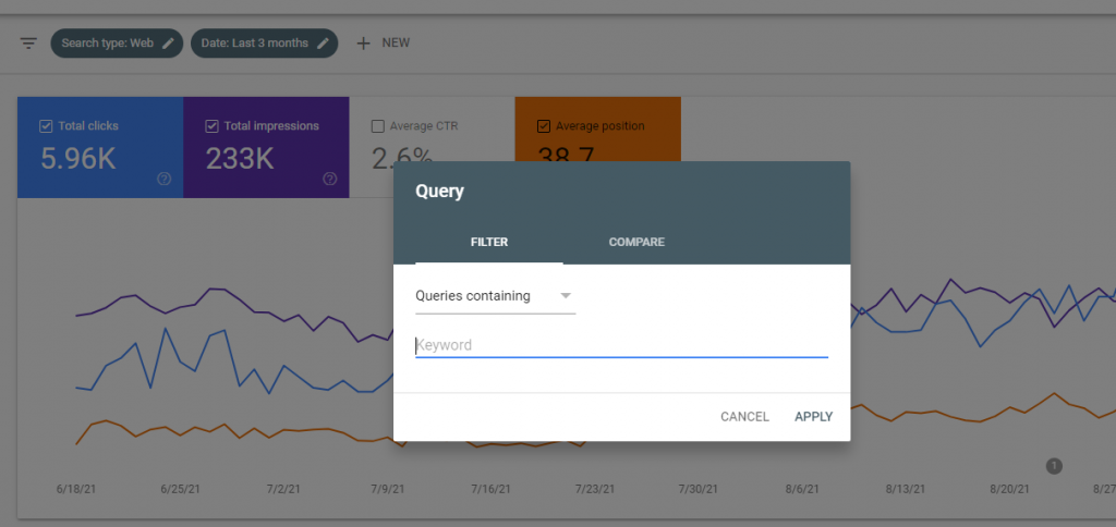 check keyword positions with google search console, step 3