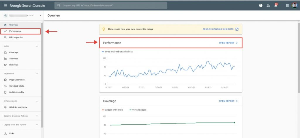 check keyword positions with google search console, step 1